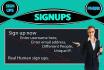 do 32 sign ups Data entry work any website