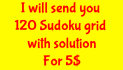 send you 120 Sudoku puzzles with solution