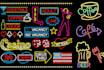 design Neon Glow Light Logo Sign Badge Emblem