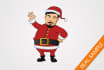illustrate your Santa cartoon with a Christmas background