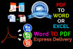 convert and edit PDF to word, excel, powerpoint or any other format and reverse