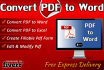 convert PDF to Word, Excel or any Other Format