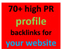 manually work 110 high PR profile backlink for your website