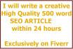 write Unique Seo ARTICLE and Content For All Niche