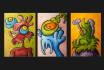 hand draw THREE cartoon portraits