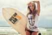display your Message on surfboard with sexy beach girl