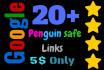 create 20 do follow google penguin safe backlinks